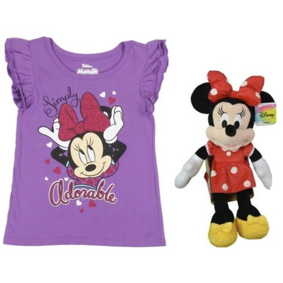 """DIsney Minnie Mouse Plush 13"""" and 5T Minnie Mouse"""